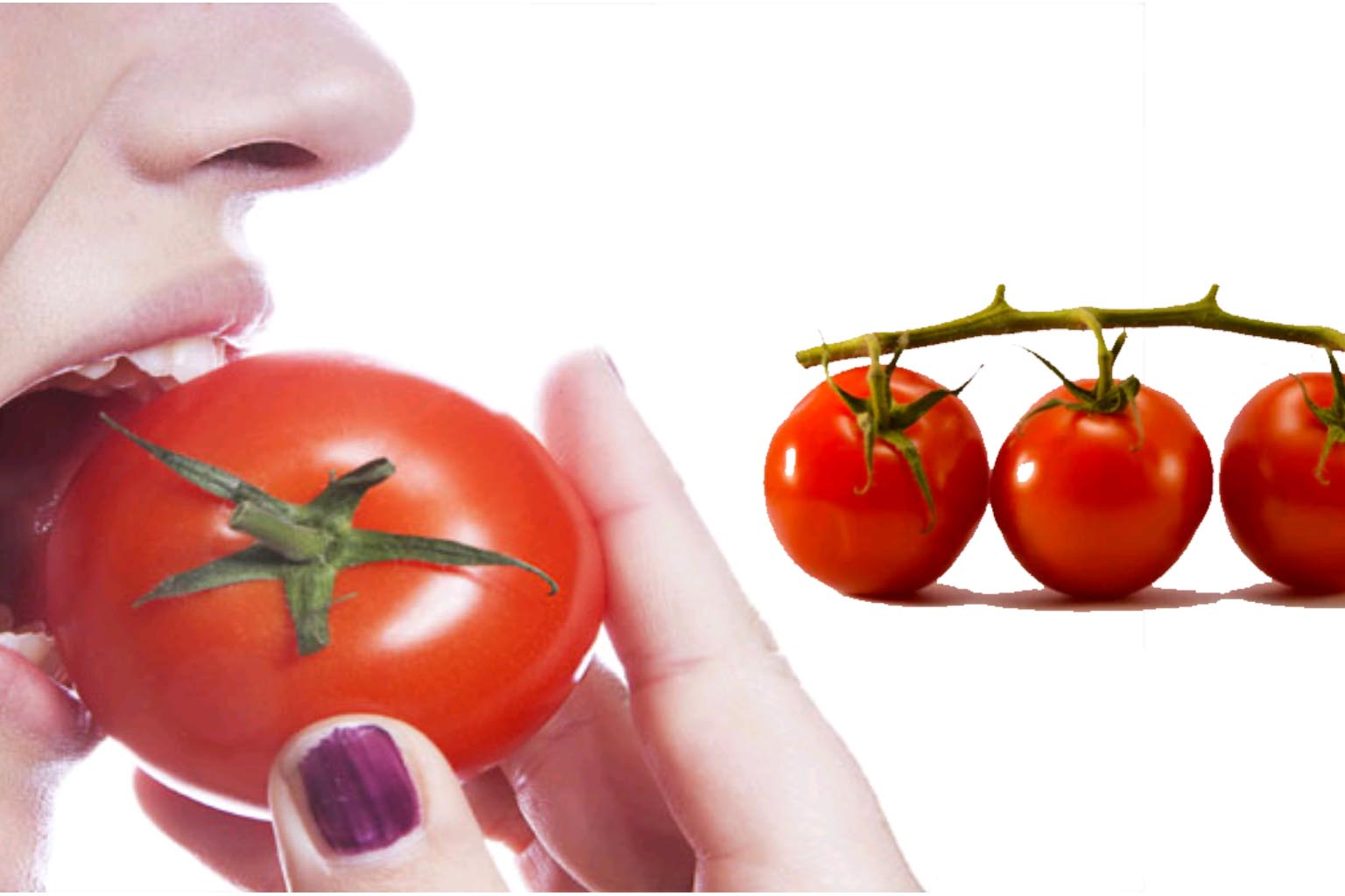 eating tomatoes